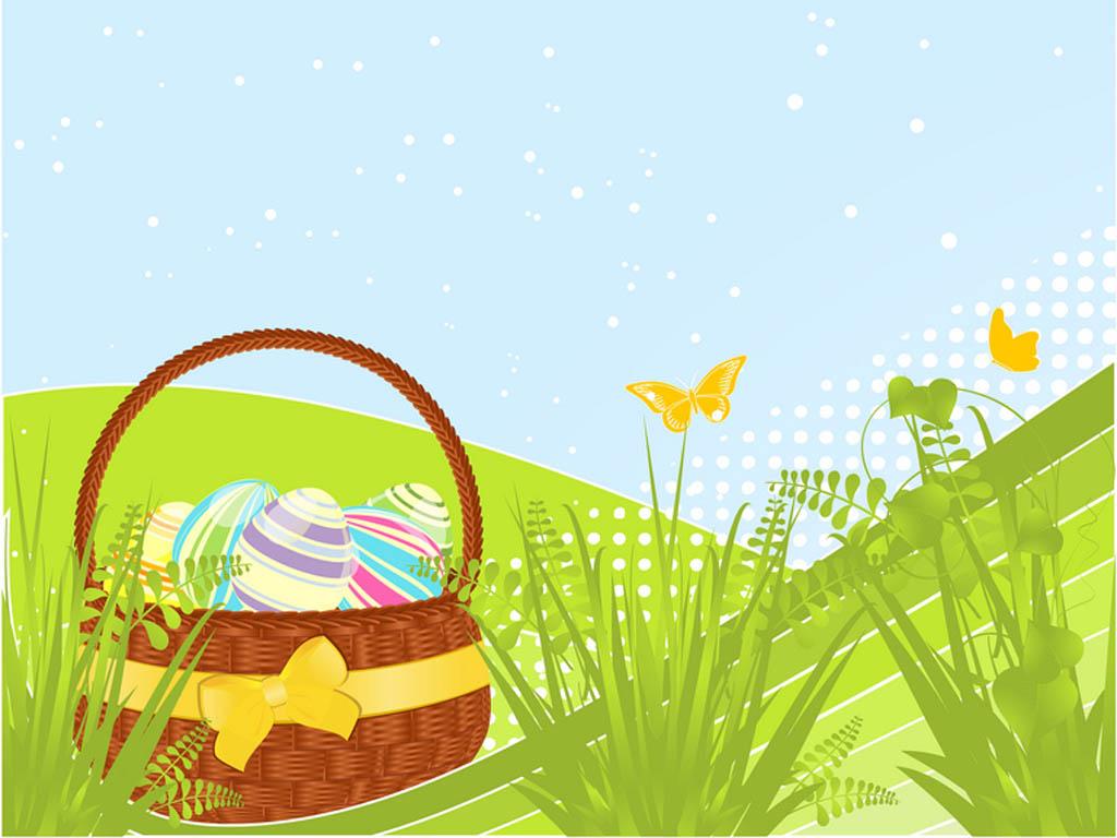 Spring basket cartoon PPT Backgrounds