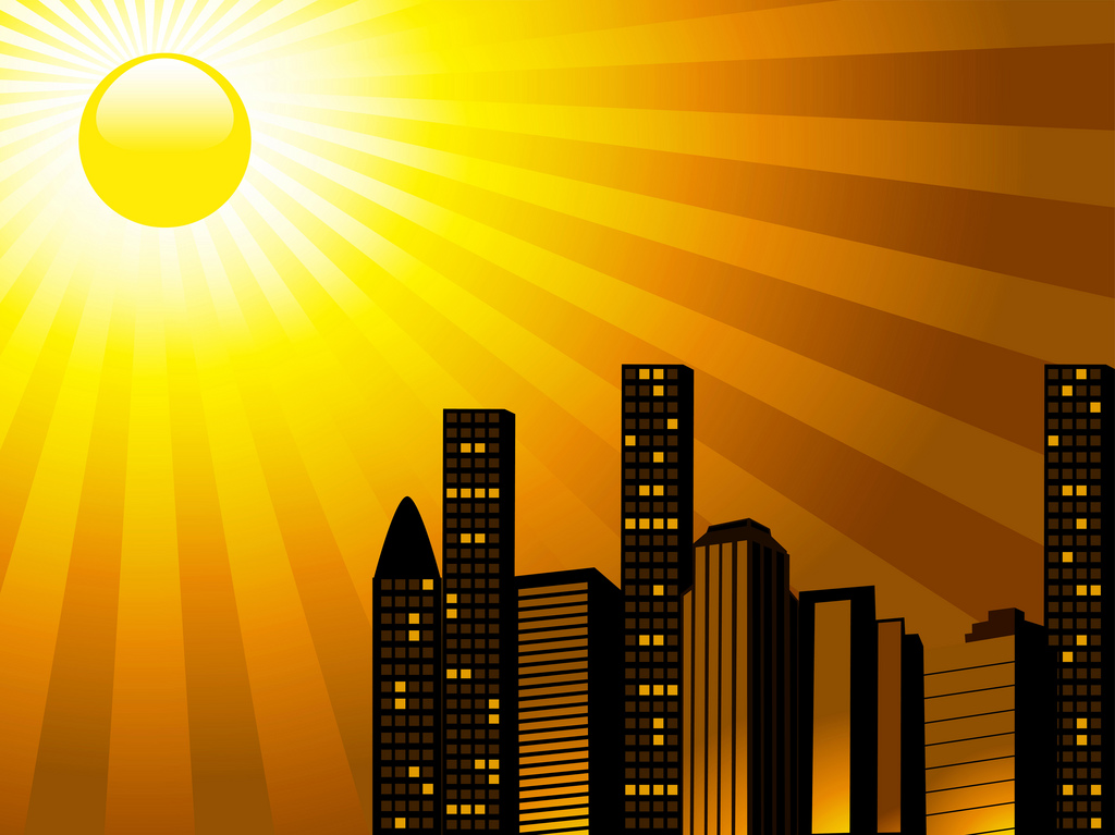 urban skyline silhouetted behind glossy orange sun PPT Backgrounds