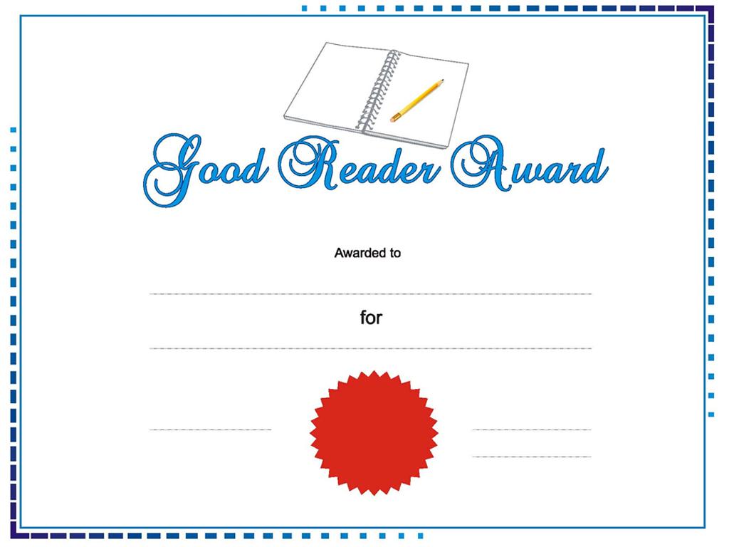 Good Reader award PPT templates